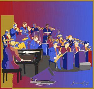 Big Band digital print by Suzanne Cerny