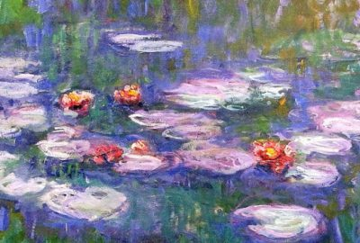 Impressionist painting of water lilies